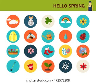 happy spring concept background. Flat icons.