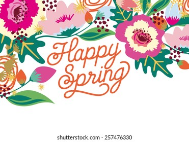 Happy Spring floral card on white background. Send your spring or any other wishes to your friends. Vector and illustration design.