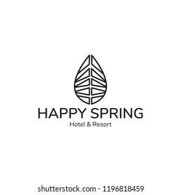 """Happy Spring Hotel"" Vector Logo Illustration.Premium Quality."