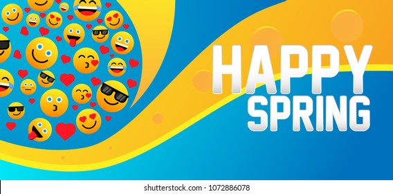 happy spring, label with emoji or emoticon for greeting card or poster