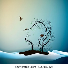Happy spring tree concept, tree looks like man with birds, spring portrait of tree abstract, tree dream, vector