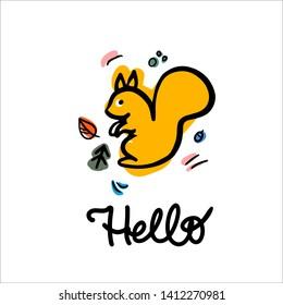 Happy  squirell vector illustration. Hello lettering calligraphy. Invitation carts, postcard, logos, prints.