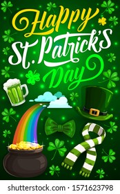 Happy St Patrick Day vector design of Irish holiday shamrock, leprechaun gold and hat. Green beer, lucky leaves of clover and celtic elf pot with golden coins, treasure cauldron on rainbow and bow tie