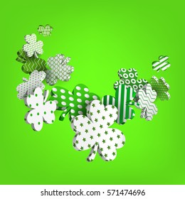 26ce91041e7e Happy St. Patrick's Day. 3d model falling leaf clover. Abstract background  of shamrocks