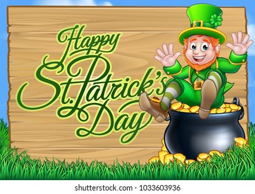 Happy St Patricks Day background wooden sign with a cute Leprechaun cartoon character sitting in a Pot of Gold