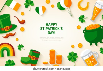 Happy St. Patrick's Day Background with Irish Flat Icons. Vector illustration.