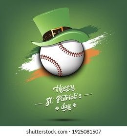 Happy St. Patricks day. Baseball ball in leprechaun hat the background of the Irish flag. Pattern for greeting card, logo, banner, poster, party invitation. Vector illustration
