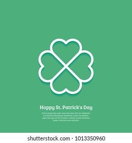 Happy St. Patricks day card with outline Shamrock Icon. Line four leaf clover pictogram. Minimal abstract background. Vector illustration. Eps10.