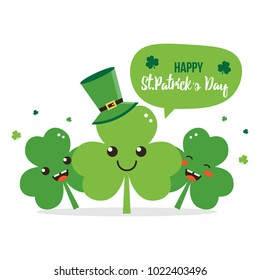 Happy St. Patrick's Day card, illustration with cute clover, shamrock cartoon characters having fun, smiling.