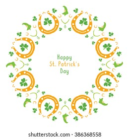 Happy St Patrick's day card. Round border, circle frame isolated on white background. Ireland symbol pattern. Irish holiday. Template for beer mat, drink coaster, napkin print.