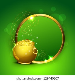 Happy St. Patrick's Day greeting card or background with golden coins pot and glossy blank banner background. EPS 10.