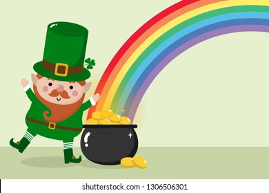 Happy St. Patrick's Day greeting card with leprechaun, gold pot and rainbow. Holiday cartoon character.