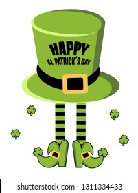 Happy St. Patrick`s Day greeting card. Leprechaun hat.  legs of leprechaun in stockings and shoes. Shamrock. Vector illustration