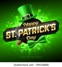 Happy St. Patrick's Day greeting card or poster. 17 March Saint Patricks Day celebration with leprechaun hat, gold lettering, party streamers, green bow tie and smouldering cigar. Luck of the Irish.