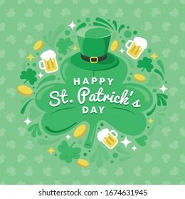 Happy St. Patrick's Day Greetings Card Illustration. Tuberhut mit Musterhintergrund. Vektorillustration EPS10
