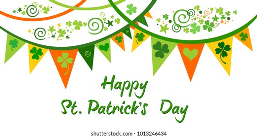 Happy St. Patrick's day. Holiday Greeting Card. Celebration green background with  shamrock, bunting garland and place for your text.  Vector illustration