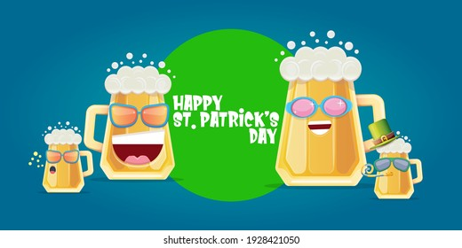 Happy st. Patricks day horizontal banner with cartoon funny beer glass friends characters with sunglasses isolated on blue background. Patricks day cartoon comic poster with funky green beer