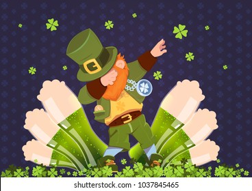 Happy St. Patricks Day Irish Festival Holiday With Green Leprechaun Over Glasses Of Beer Flat Vector Illustration