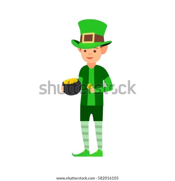 Happy St. Patrick's day, the man in the image of a leprechaun holding a pot of gold and clover. vector images in cartoon style