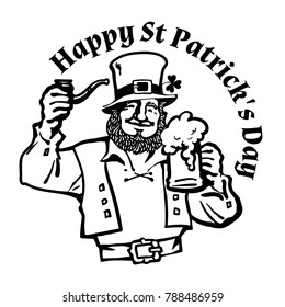 Happy St Patricks Day poster.  Leprechaun character in traditional Irish costume with beer mug and pipe. Hand drawn vector illustration isolated on white background.
