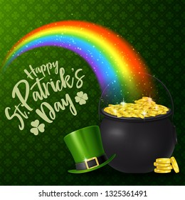 Happy St. Patrick's Day with rainbow, hat, and golden coins