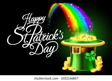A Happy St Patricks Day sign background with leprechaun green shamrock hat full of gold coins at the end of a rainbow