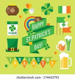 Happy St. Patrick's Day vector illustration icon set. Traditional irish symbols in modern flat style. Design elements for Irish poster, banner.