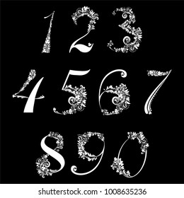 Happy St. Patrick's day. White Floral numbers set isolated on black background. Vector illustration