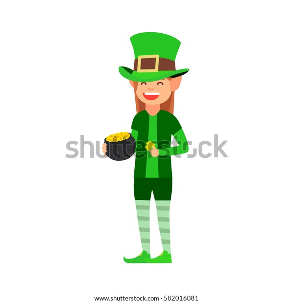 Happy St. Patrick's day, the woman in the costume of a leprechaun holding a pot of gold and clover. vector images in cartoon style