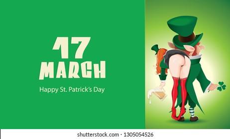 Happy St. Patrick's Day-cartoon of leprechaun boy and girl next to green textual signboard,leprechaun carries a drunken girl over her shoulder