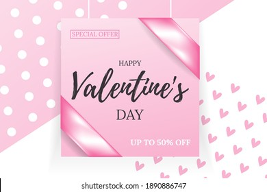 Happy St. Valentine's day hand drawn text on pink board. Typography postcard, greeting card, invitation, banner, placard,  poster concept design template. Romantic quote. Vector illustration