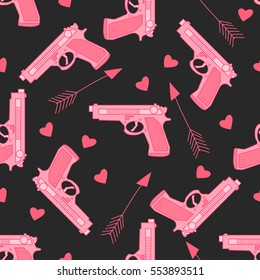 Happy St. Valentine's Day. Seamless pattern with pink gun, hearts and arrow.