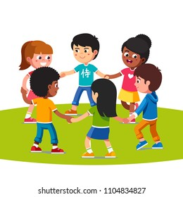 Happy standing multiethnic children dancing in circle holding hands together. Smiling multiracial kids walking in round holding hands forming circle. Kids friends playing fun. Flat vector illustration