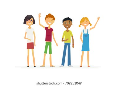 Happy standing schoolchildren - cartoon people characters isolated illustration. Smiling boys and girls waving hands. Make a great presentation with these international students, education abroad