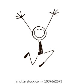 Happy stick figure 5.Vector illustration