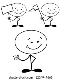Happy stick man with flag and sign