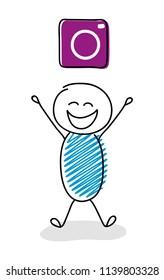 Happy stickman with camera (social media) icon. Vector.