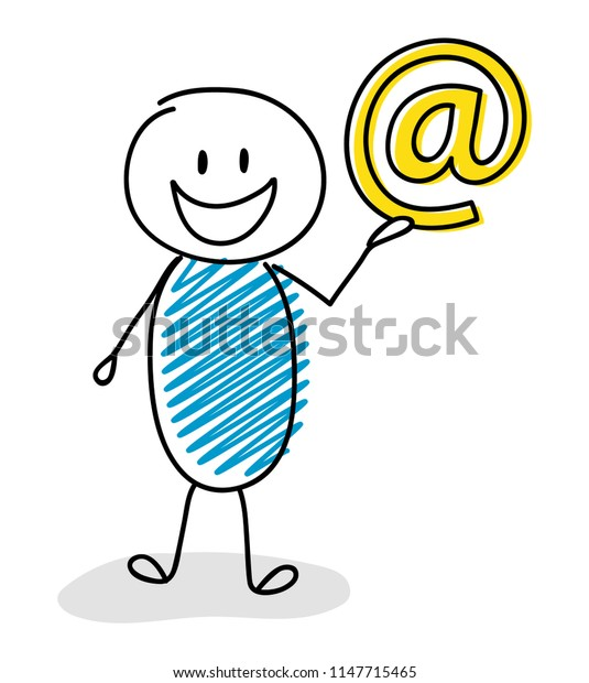 Happy stickman with email address icon. Vector.