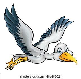 Happy stork bird animal cartoon character flying through the air