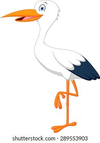 Happy stork cartoon