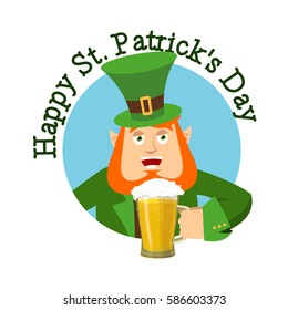 Happy St.Patrick 's Day. Leprechaun and mug beer. Dwarf with red beard mug ale. Holiday in Ireland
