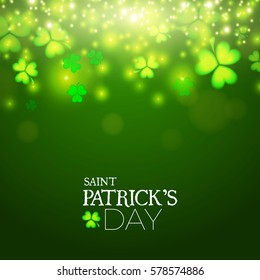 Happy St.Patrick's Day Background. Shining Shamrock Space. Vector illustration