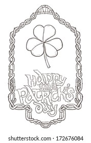 Happy st.Patrick's day Clover with the border around