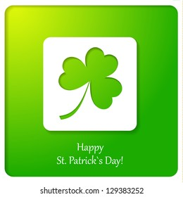 Happy St.Patrick`s Day paper greeting card. Vector illustration.