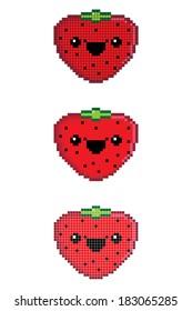 Happy Strawberry Pixel Icon