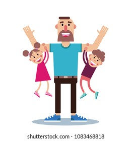 Happy strong bearded father with two laughing, loving children hanging on his arms flat vector illustration. Cute, colorful father's day card idea
