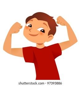happy strong kid posing