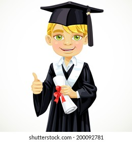Happy student blond boy holding a diploma