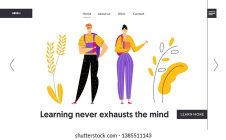 Happy Student Characters with Books Banner. Male and Female People Students with Textbook. Education Graduation Concept for Landing Page, Website. Vector flat cartoon illustration