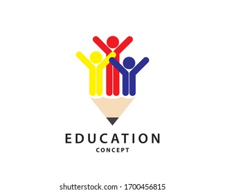 Happy student with pencil. Educations and logo concept.